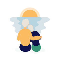 couple cute elderly people watching sunset vector image