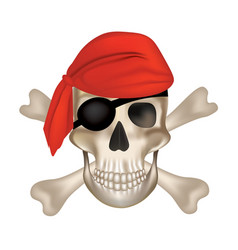 crossbones pirate skull with red hat vector image