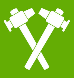 Crossed blacksmith hammer icon green vector