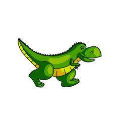 cute colorful green dinosaur running away from zoo vector image