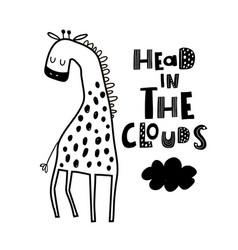 Cute hand drawn giraffe in black and white style vector