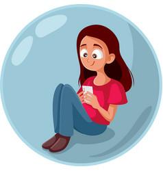 Cute teen girl checking smartphone living vector