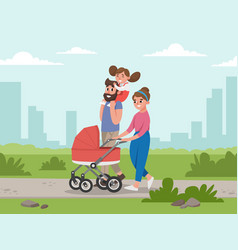cute young family for walk vector image