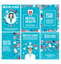 Dental clinic and dentistry brochure vector