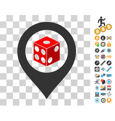 dice map pointer icon with bonus vector image