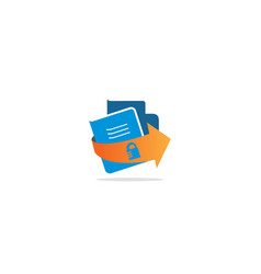 Document secure lock logo vector