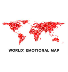 Dolor world map mosaic of sad smileys vector