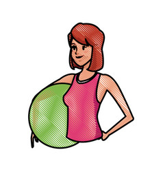 Drawing sport girl fitball training image vector