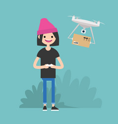 drone delivery service young female character vector image