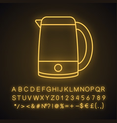 Electric kettle neon light icon vector