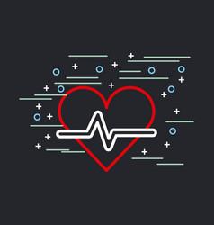 Embellished heart cardiogram image vector