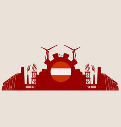 energy and power icons set with austria flag vector image
