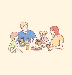 family recreation leisure dinner fatherhood vector image