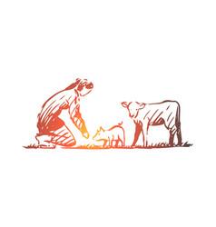 farmer animals pig cow rural concept vector image