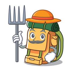 Farmer backpack character cartoon style vector