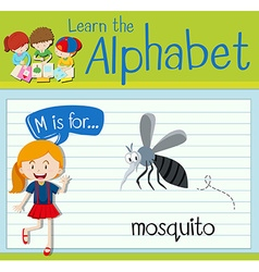 Flashcard letter M is for mosquito vector image