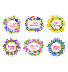 Flowers bouquets for hello spring quotes vector