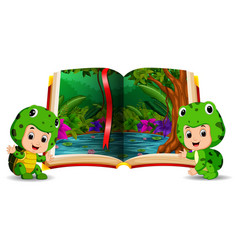 forest in the book and kids wearing a costume vector image