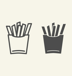 french fries line and glyph icon fast food vector image