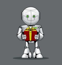 Funny kid robot with a gift in hand vector