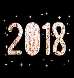 golden glitter foil text on black background 2018 vector image
