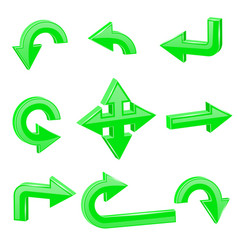 green 3d arrows different directions vector image