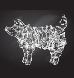 Hand drawn steampunk pig vector