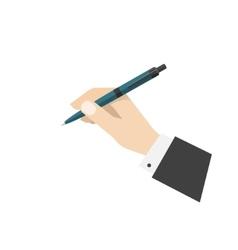 Hand holding ball biro pen vector image
