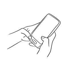 Handworking on mobile phone sketch vector