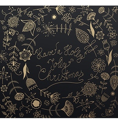 Handwritten Christmas slogan with many flowers vector