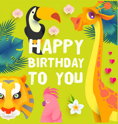 Happy birthday children event tropic and exotic vector