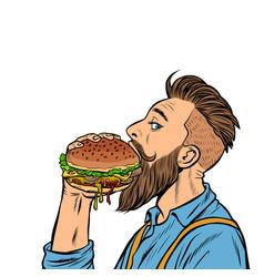 hipster man eating burger vector image