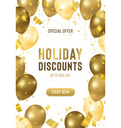 holiday discounts banner with realistic vector image