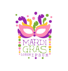 Holiday logo template for mardi gras with mask vector