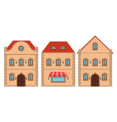 houses old european buildings with red roof flat vector image
