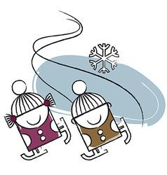 Ice skating vector image