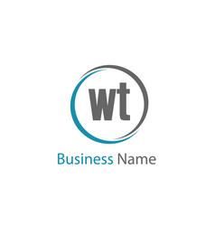 Initial letter wt logo template design vector
