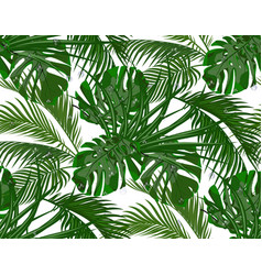 Jungle lush green leaves of tropical palm trees vector