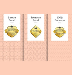 luxury brand premium label 100 exclusive emblem vector image