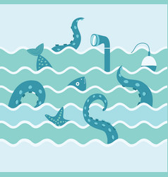 marine life in wave vector image