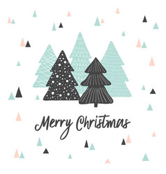merry christmas cute greeting card scandinavian vector image