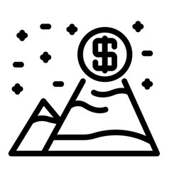 Money grow mountains icon outline style vector