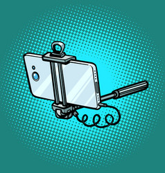 monopod with smartphone gadgets and technician vector image