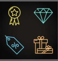 neon sale and gifts icon set in line style vector image