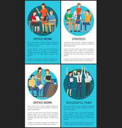 office work strategy successful team color banner vector image