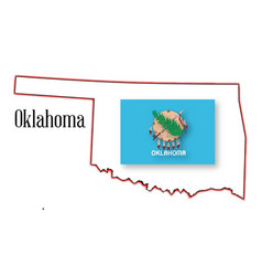 Oklahoma state map and flag vector