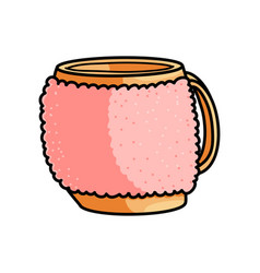Orange home mug with textile case with hot coffee vector