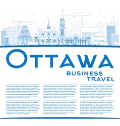 Outline Ottawa Skyline with Blue Buildings vector