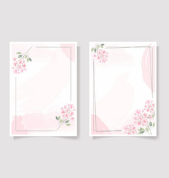 Pink needle flower wreath with frame on pink vector
