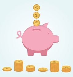 Pink piggy bank in which fly golden coins dollar vector